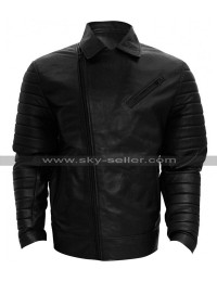 WWE Wrestler Finn Balor Quilted Shoulders Biker Leather Jacket