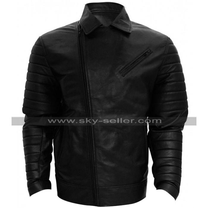 WWE Wrestler Finn Balor Quilted Shoulders Biker Leather Jacket