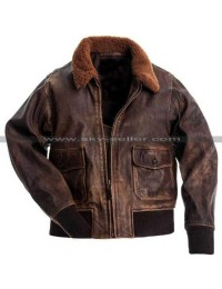 G1 Fur Collar Air Force Aviator Men Distressed Genuine Leather Jacket