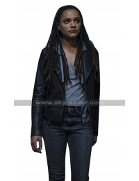 Sasha Lane Hellboy 2019 Alice Monaghan Black Biker Leather Jacket