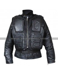 Judge Dredd 3D Karl Urban Black Leather Jacket