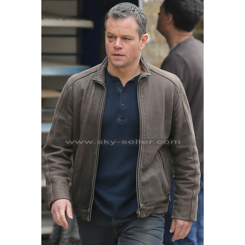Damon Jason Bourne Brown Leather Jacket