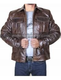 Copper Rub Buff Classic Biker Style Vintage Leather Jacket
