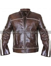 Copper Classic White Stripes Vintage Biker Brown Leather Jacket