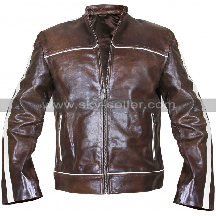 Copper Classic White Stripes Vintage Biker Brown Leather Jacket
