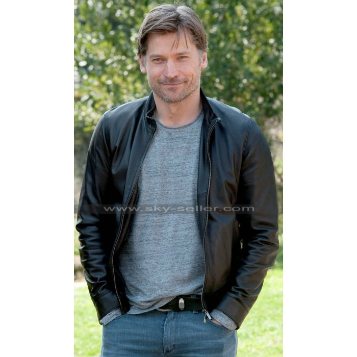 Nikolaj Coster-Waldau Photocall Black Leather Jacket