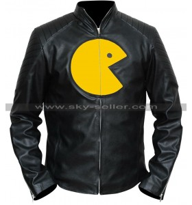 Pac Man Black Leather Jacket