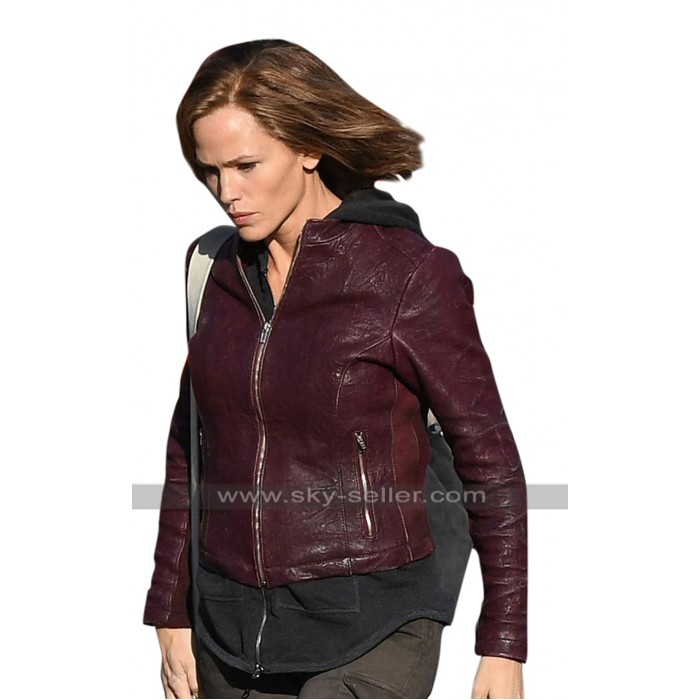 Jennifer Garner Peppermint Riley North Maroon Leather Jacket