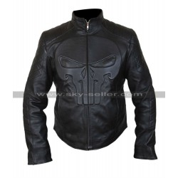Punisher Skull Black Biker Leather Jacket