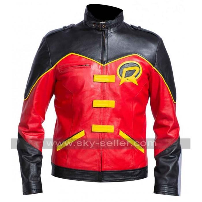 Red Robin Batman Tim Drake Leather Jacket