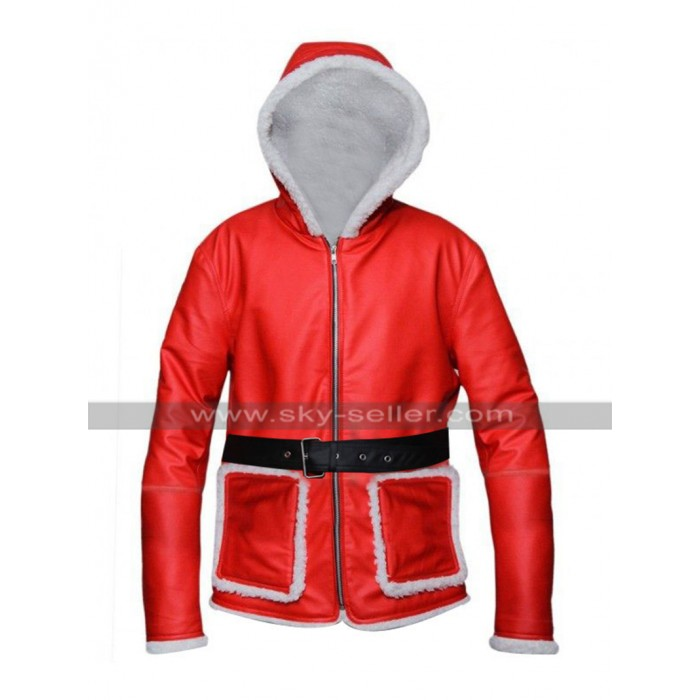 Santa Claus Red Jacket Fur Leather Coat Christmas Sale Costume Hoodie for Men