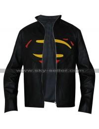Superman Batman Multicolor Logo Black Leather Jacket
