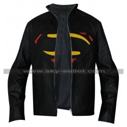 Superman Batman Multicolor Logo Black Leather Jacket