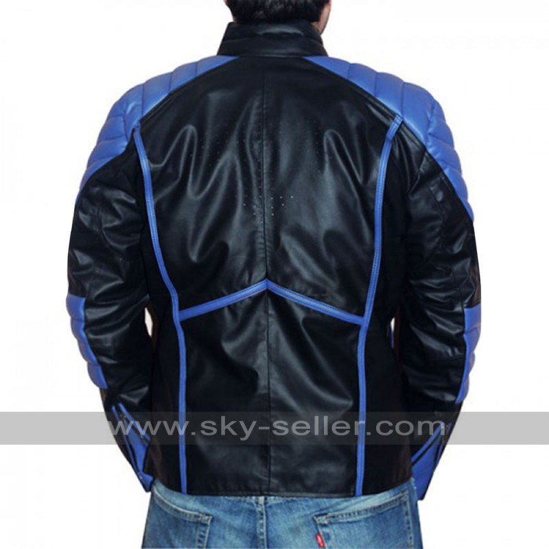 Mens Black with Blue / Red Stripes Leather Jacket