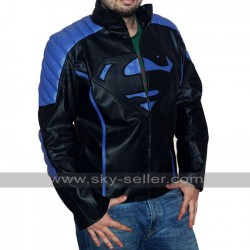 Superman Mens Black with Blue / Red Stripes Leather Jacket