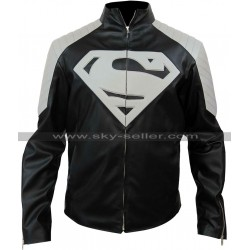 Superman Smallville Black and Grey Leather Jacket