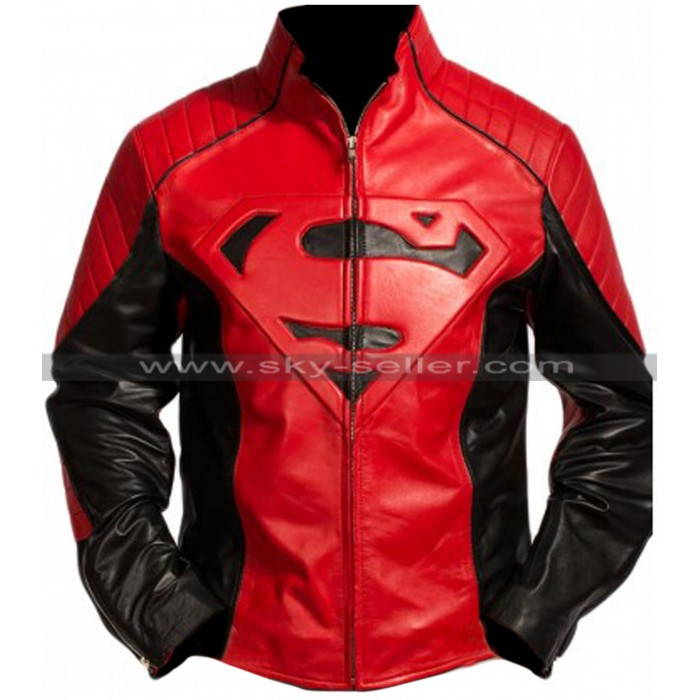 Superman Smallville Black and Red Leather Jacket