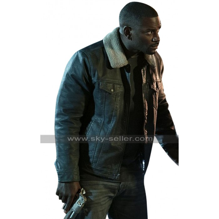 The First Purge Mo McRae (7 & 7) Fur Collar Black Leather Jacket