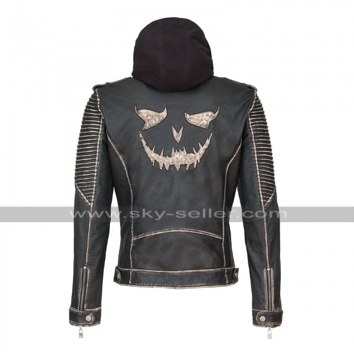 Suicide Squad The Killing Joker Slim Fit Hooded Leather Jacket