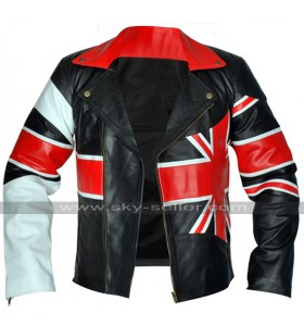 Cafe Racer UK Flag Vintage Brando British Biker Black Leather Jacket