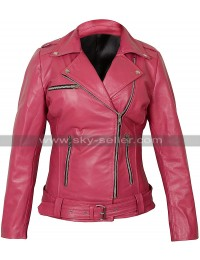 Womens Walking Dead Negan Pink Biker Leather Jacket