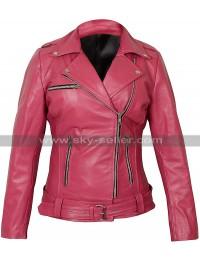 Womens Walking Dead Negan Pink Biker Leather Jacket