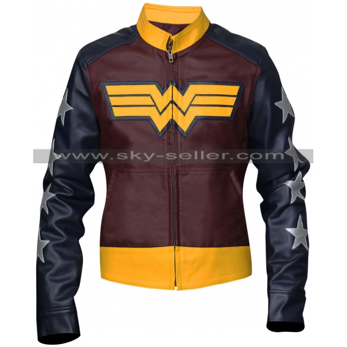 Wonder Woman Costume Leather Jacket Sale