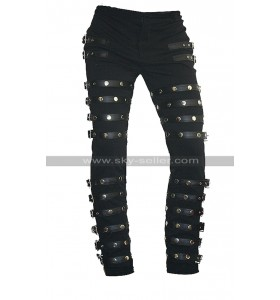MJ BAD Concert Tour Michael Jackson Black Metal Rock Leather Pants