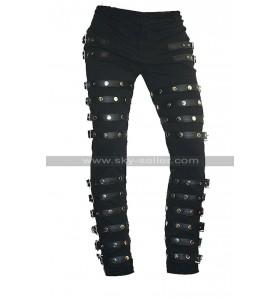 MJ BAD Concert Tour Michael Jackson Black Metal Rock Leather Pants