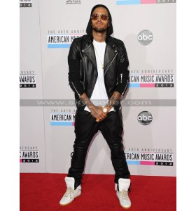 Chris Brown Black Leather Pants