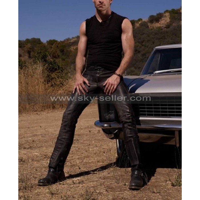 Chris Pine Details Black Straight Leather Pants