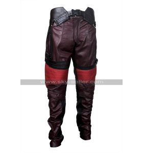 Star Lord Pants Guardians of Galaxy Chris Pratt Maroon Leather Pants for Cosplay
