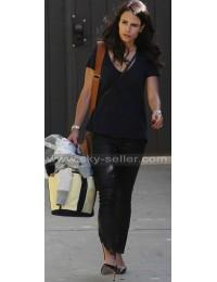 Jordana Brewster Ankle Zip Black Leather Pants
