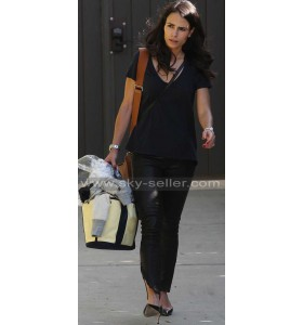 Jordana Brewster Ankle Zip Black Leather Pants