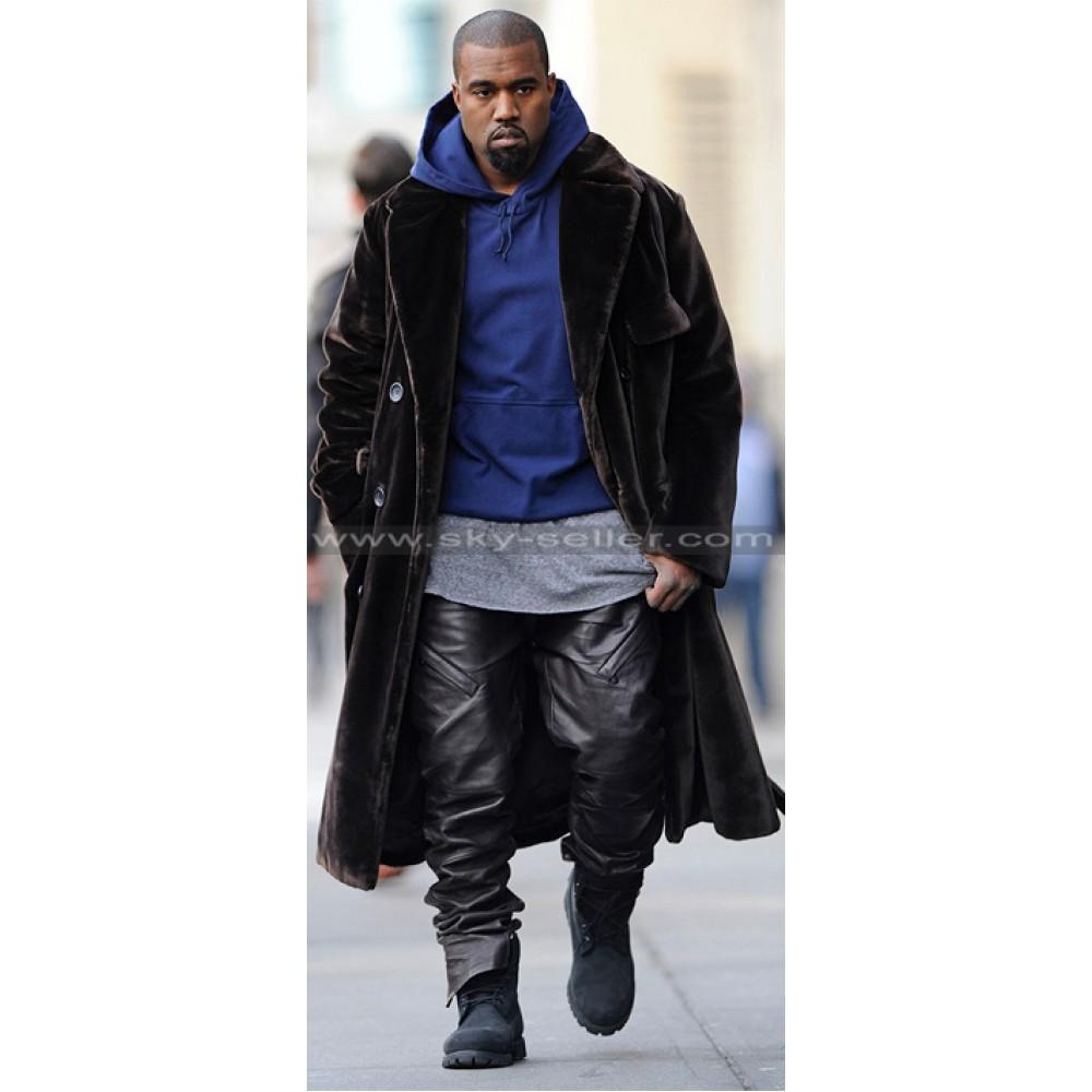 Kanye West Stylish Black Leather Pants