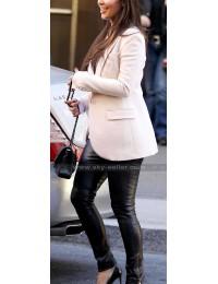 Kim Kardashian Slim Fit Black Leather Leggings