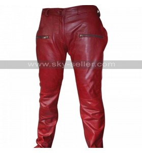 Kylie Jenner Red Parker Faux Leather Pants