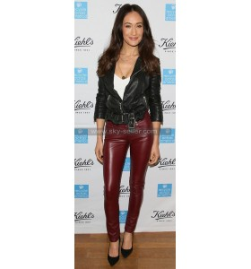Maggie Q Maroon Slimfit Leather Pants