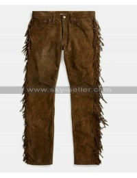 Native American Cowboy Fringes Brown Suede Leather Pants