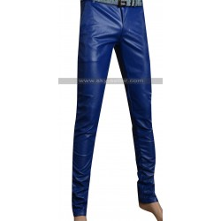 Men's Blue Slimfit Stylish Leather Pants