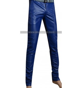 Men's Blue Slimfit Stylish Leather Pants