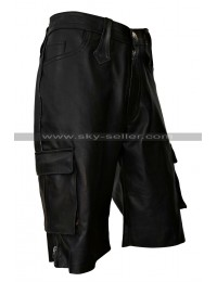 Men's Black Multi Pockets Leather Shorts