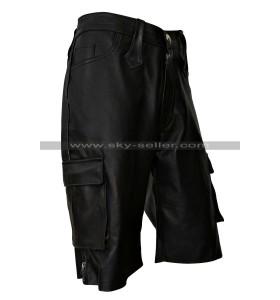 Men's Black Multi Pockets Leather Shorts