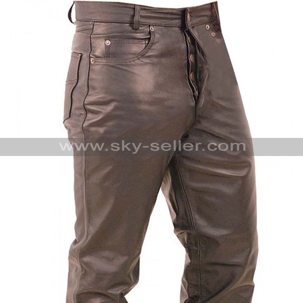 Mens Button Fly Fitted Leather Pants