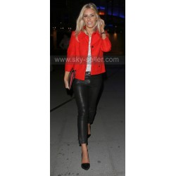 Mollie King Skin Tight Black Leather Pants