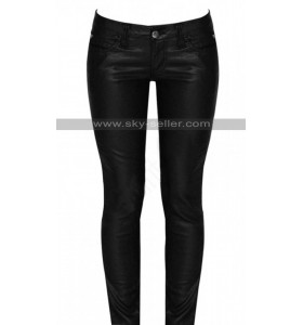 Women Black Skinny Leather Pants