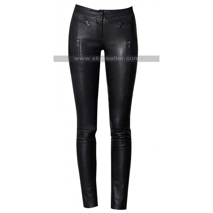 Women's Slim Fit Black Leather Pants