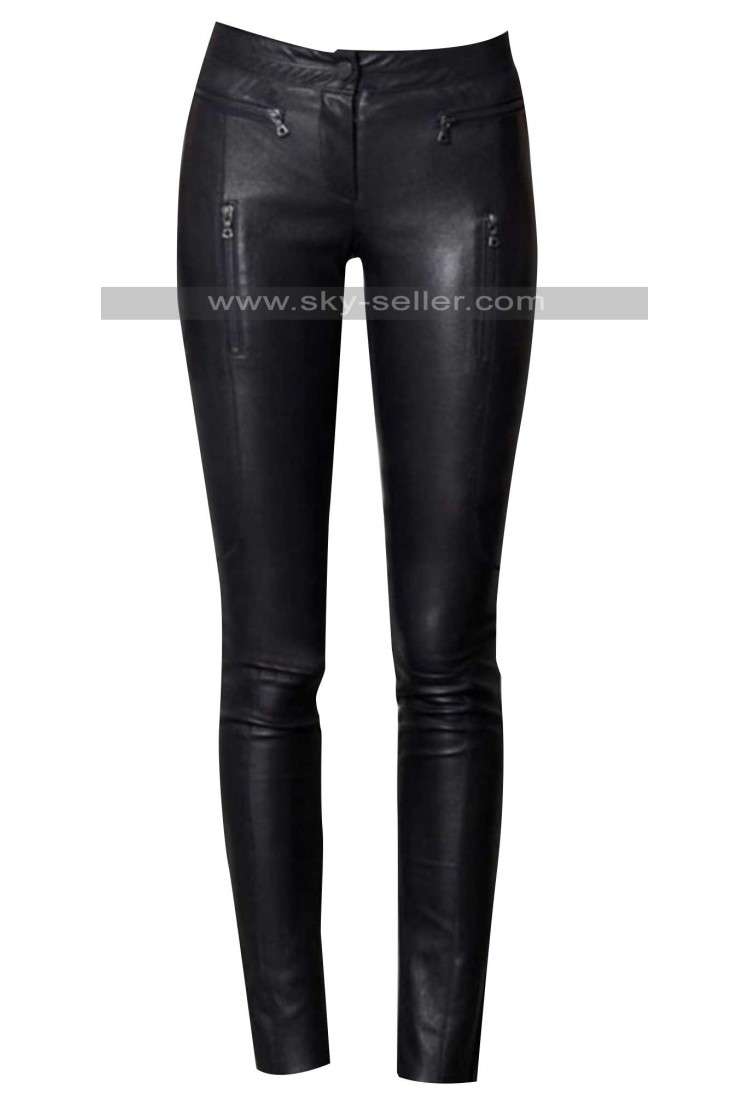 Creative Fashion Black Leather Pants Patchwork Fake Zippers Low Waisted Full