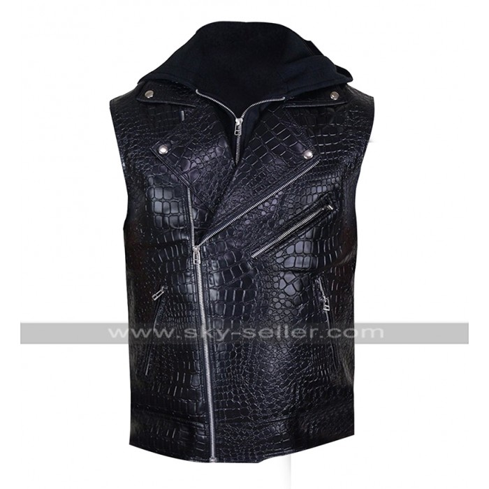 AJ Styles WWE SmackDown Crocodile Quilted Black Hooded Leather Vest