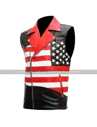 Sleeveless Brando Motorcycle Jacket Independence American Flag Biker Leather Vest